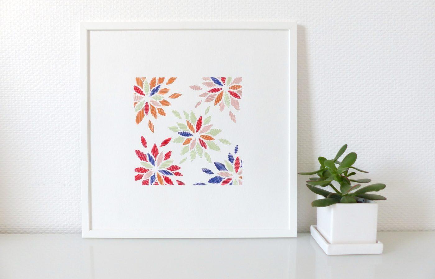 Les Fils Rouges décoration murale tableau motif fleurs japonaises brodées multicolores